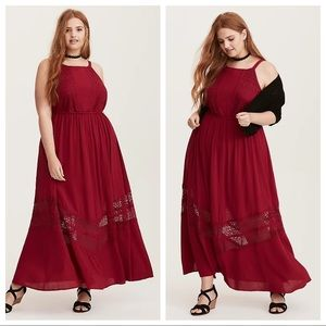 TORRID NEW Berry Red Gauze and Lace Maxi Dress 2X